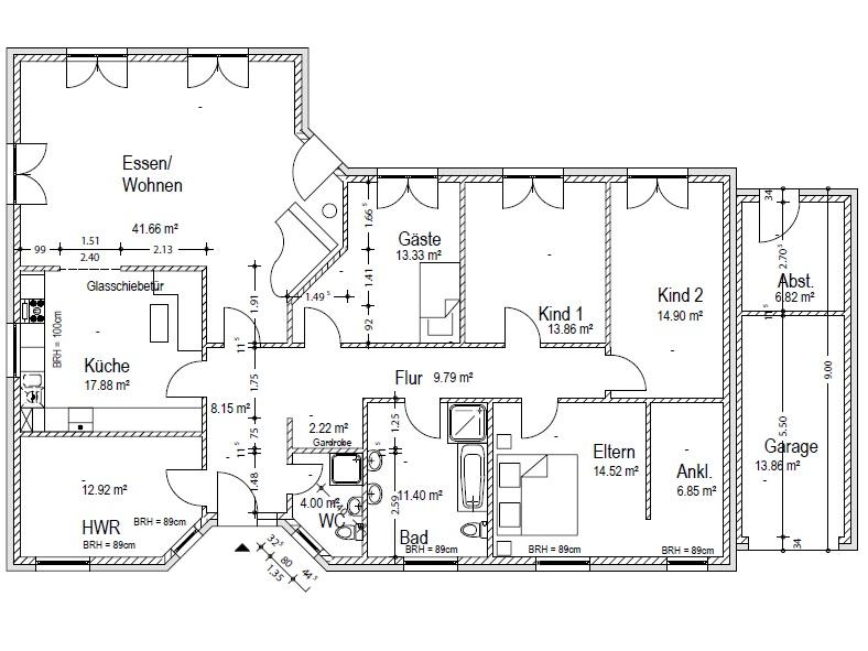 Dieser Bungalow Grundriss Mit Knapp 180 M² Bietet 2 Kinderzimmer Und Ein  Schlafzimmer Mit Ankleide