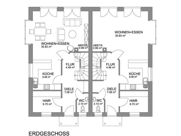 Doppelhaus bauen mit über 120 qm Grundriss