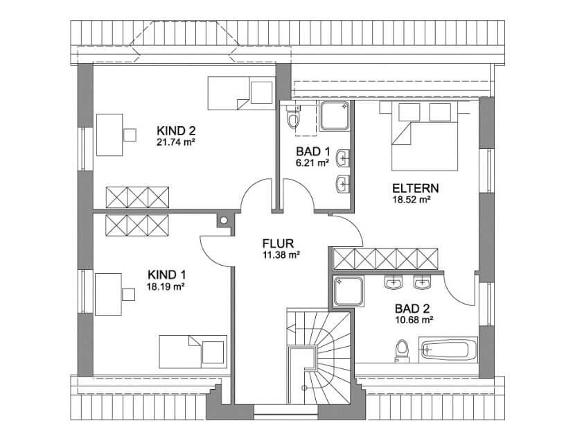 kapit nsgiebelhaus 186 landhaus mit kapit nsgiebel und ber 180 qm grundriss. Black Bedroom Furniture Sets. Home Design Ideas
