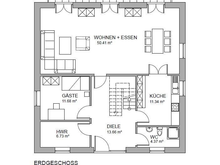 stadtvilla 198 stadtvilla grundriss modern mit knapp 200 qm. Black Bedroom Furniture Sets. Home Design Ideas